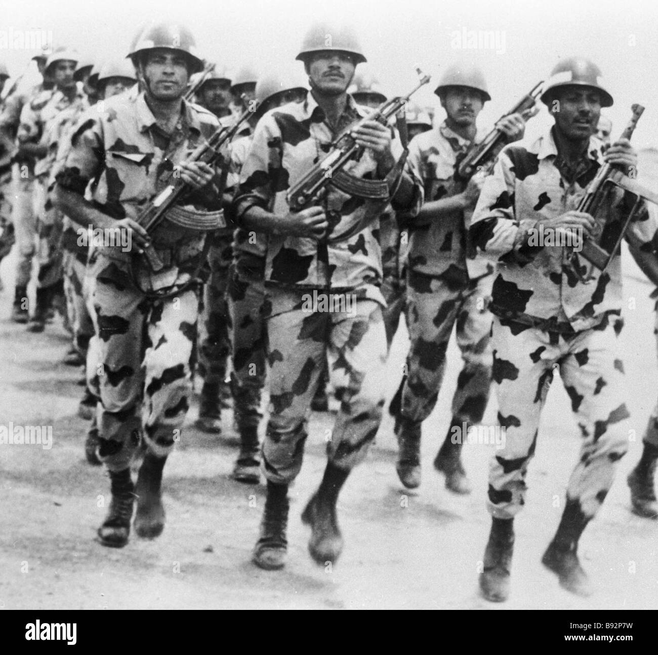 Egyptian army men on march - Stock Image