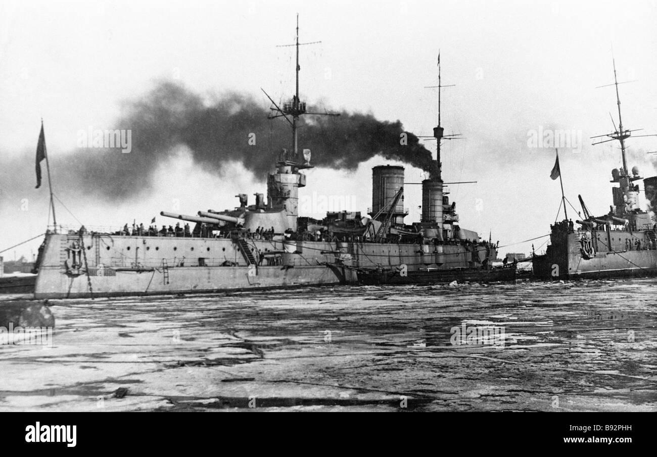 Marat and Petropavlovsk battleships - Stock Image