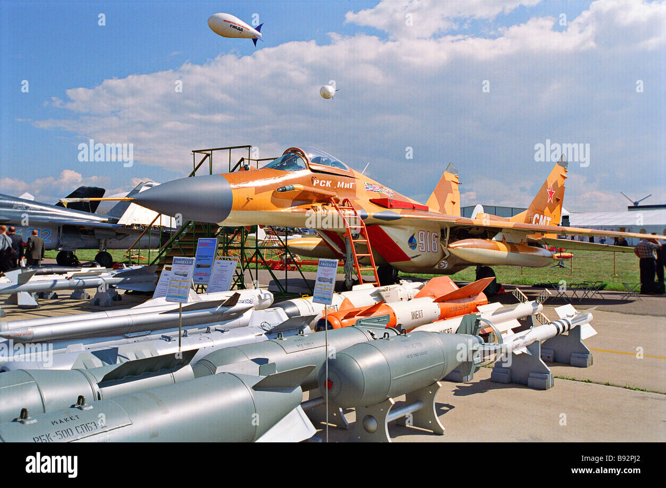 A MIG 29CMT multirole fighter of Russian design and manufacture at the 6th international aerospace show MAKS 2003 - Stock Image