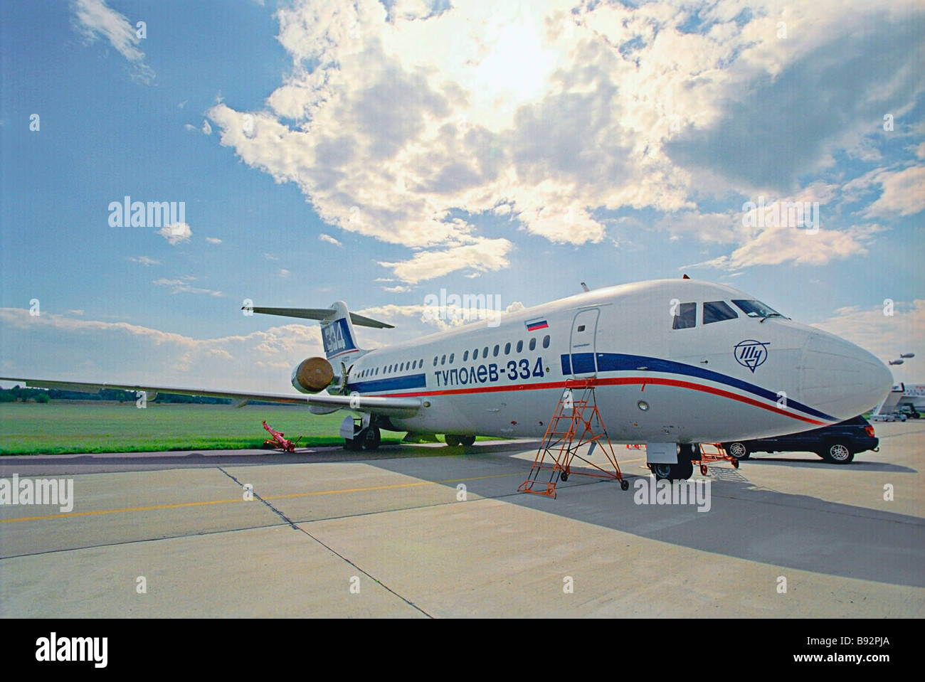 A TU 334 short haul liner of Russian design and manufacture at the 6th international aerospace show MAKS 2003 in - Stock Image