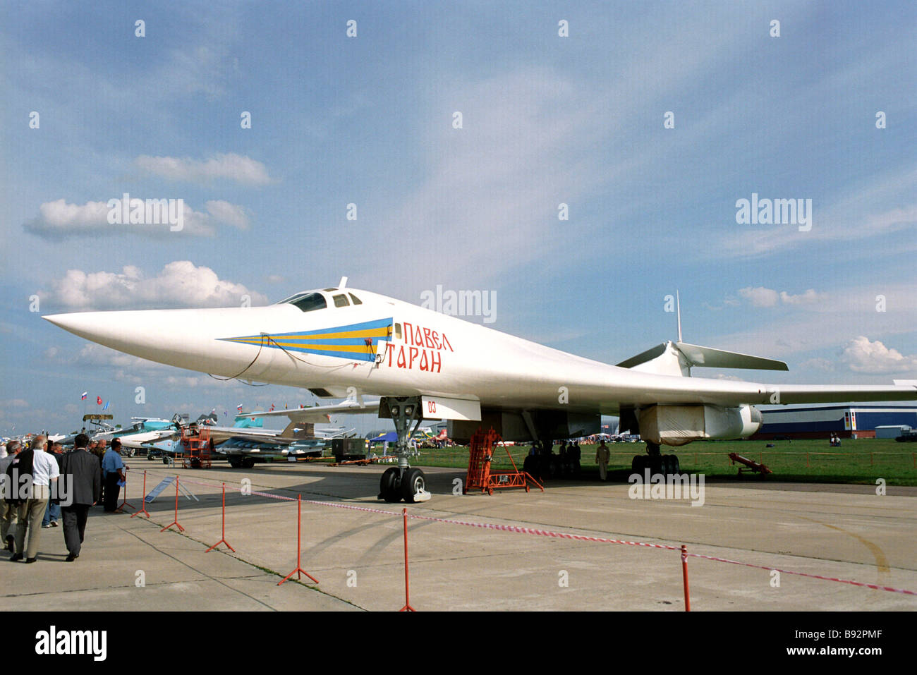 Strategic supersonic bomber TU 160 exhibited at the Sixth MAX 2003 international air show in Zhukovsky - Stock Image