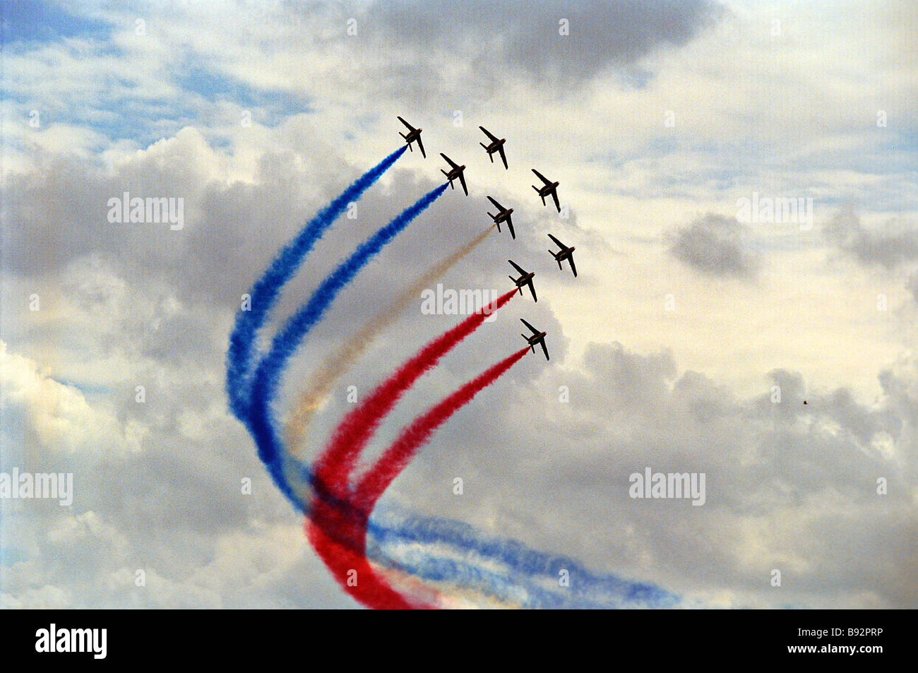 The Patrouille de France aerobatic team performing a 25 minute program at the MAKS 2003 air show - Stock Image