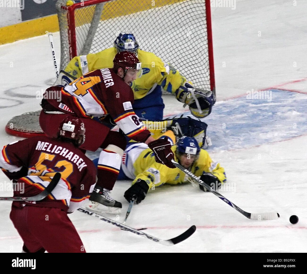 Sparta player Jakob Langhammer number 84 charges the Davos goal in the Davos Switzerland versus Sparta Czech Republic - Stock Image