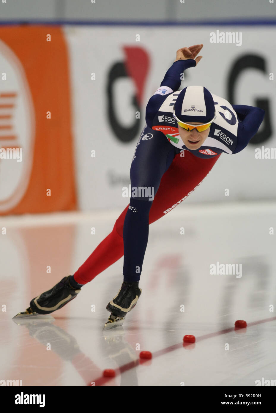 Martina Sablikova the Czech Republic took 1st place in the 3000 meters event at the European skating championships - Stock Image