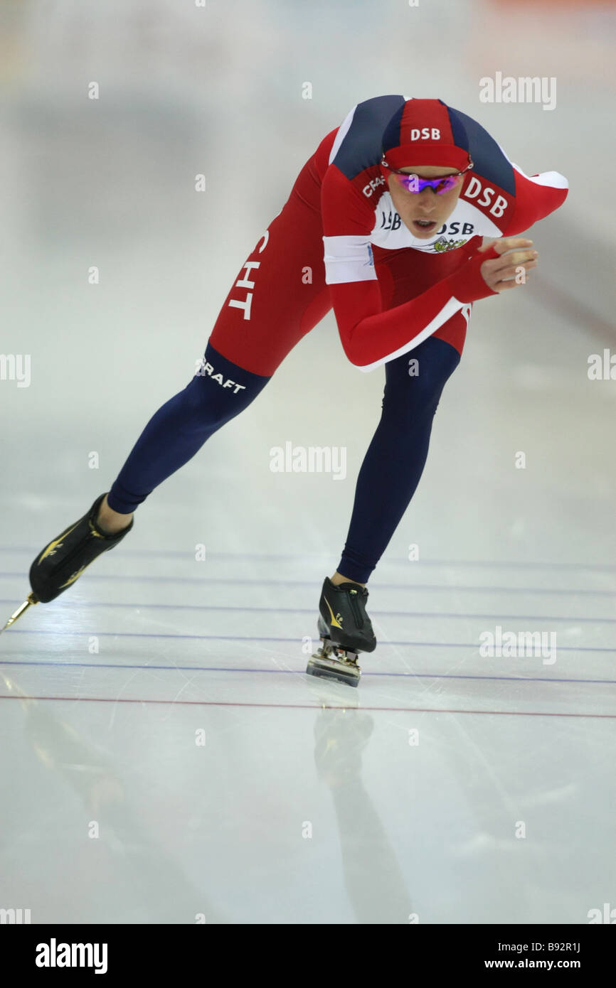 Yekaterina Lobysheva Russia took 1st place in the 500 meters event at the European skating championships - Stock Image