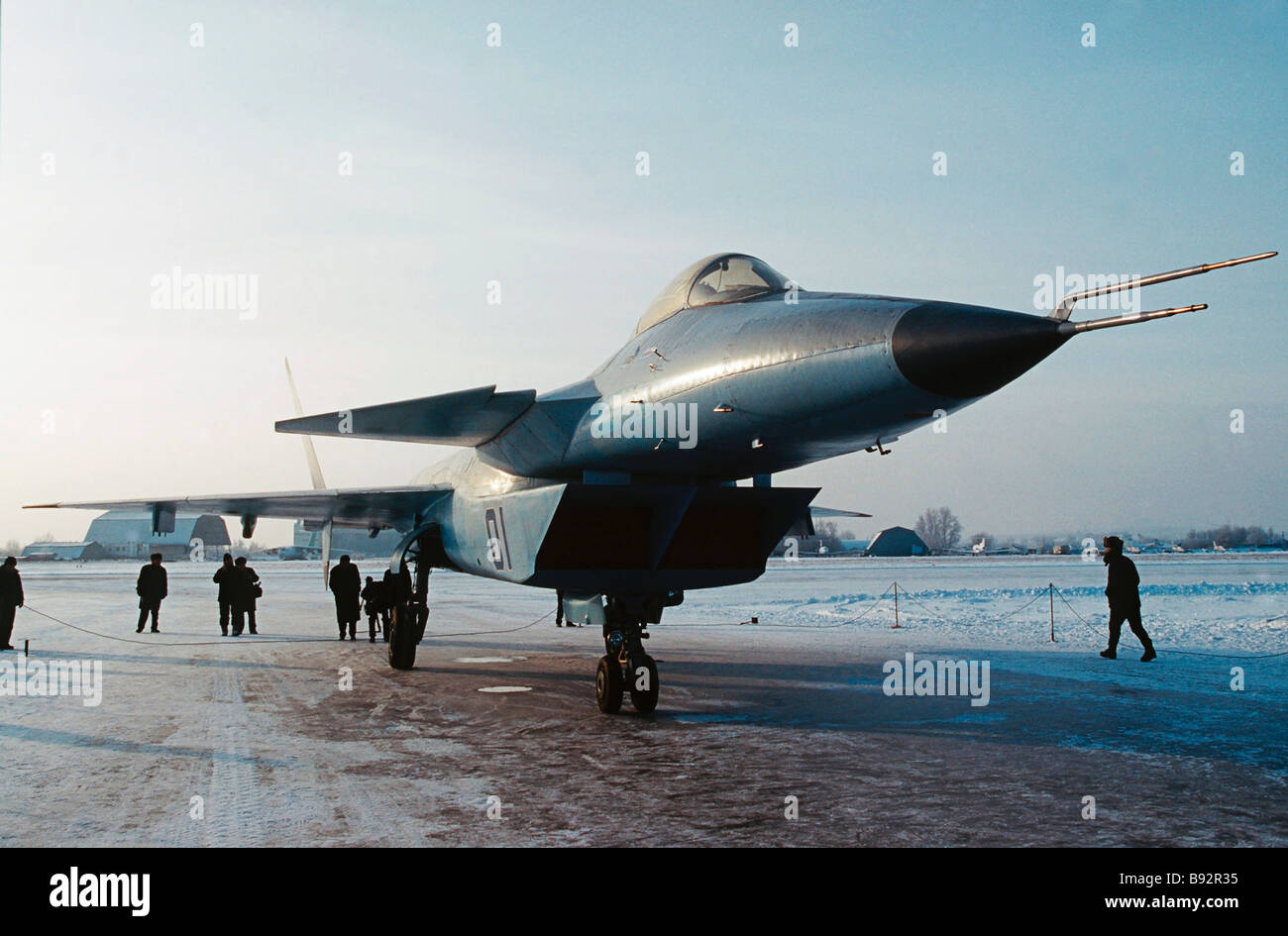 Russia s new Mk 1 42 fifth generation air superiority fighter built at the Mikoyan Gurevich aviation science and - Stock Image