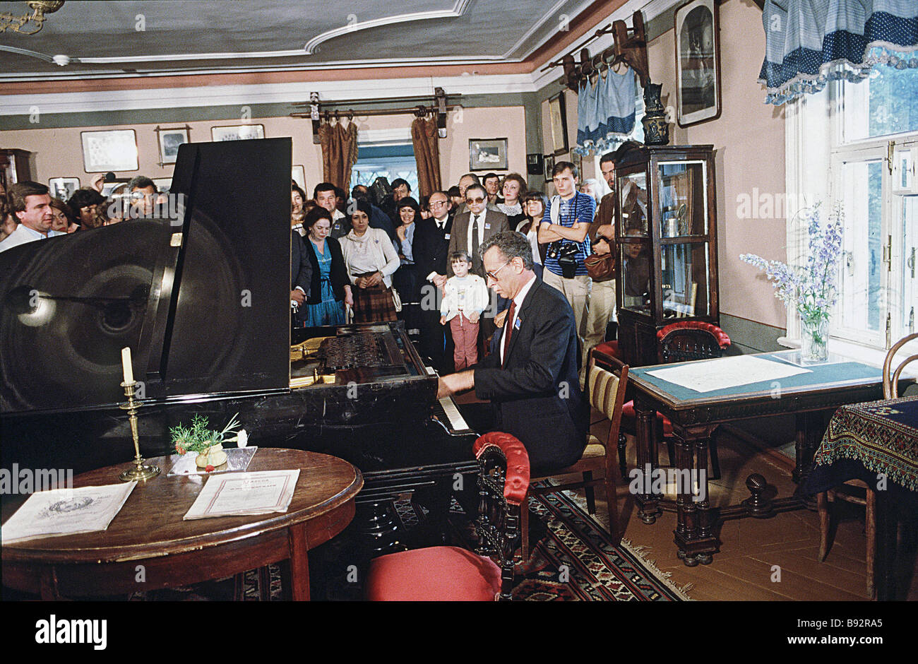 US musician Daniel Pollack member of the Seventh International Tchaikovsky Competition s Piano Jury plays the grand - Stock Image