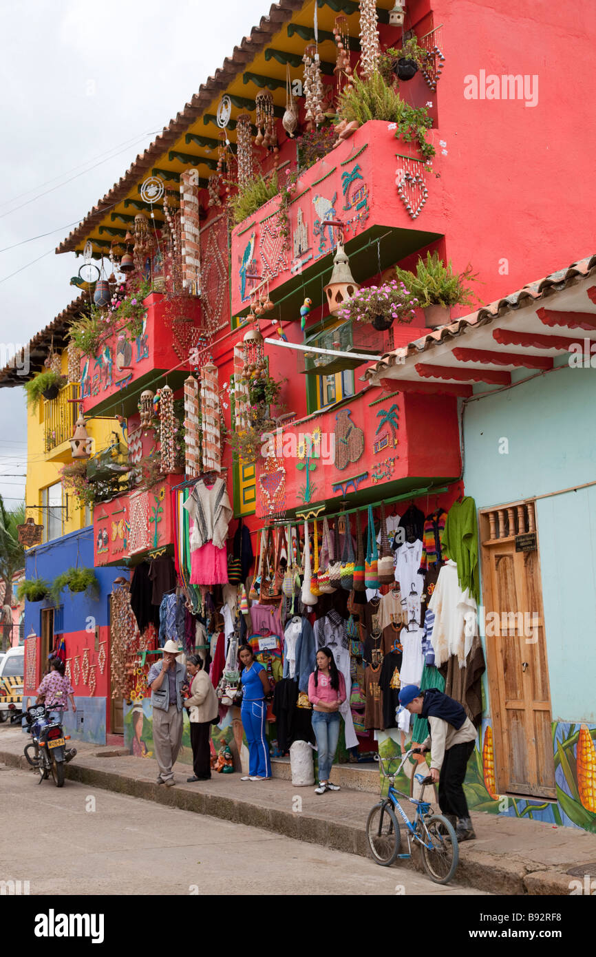Colourful Buildings Selling Handicrafts In The Colombian Village Of