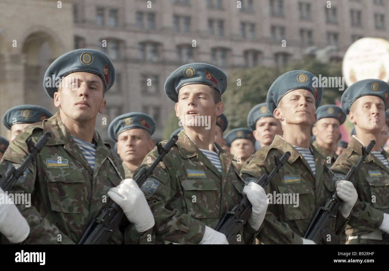 Ukrainian Army units at a military parade during celebrations of 50 years since liberation of Ukraine from the German - Stock Image