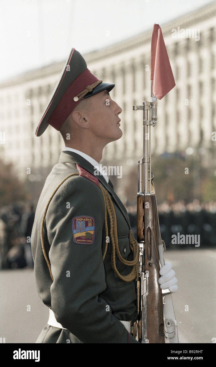 A Ukrainian serviceman at a military parade during celebrations of 50 years since liberation of Ukraine from the - Stock Image