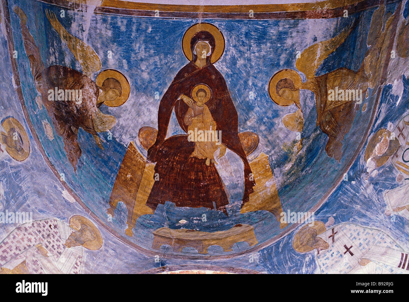 Madonna and Child by Dionysius 1500 1503 in the central apse the central part of the altar of the Nativity of the - Stock Image