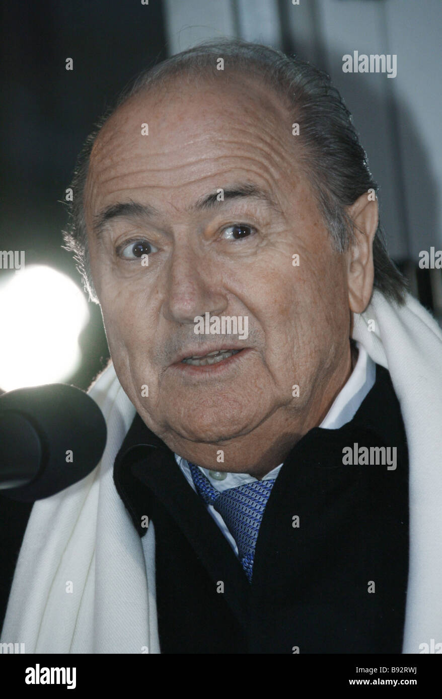FIFA President Joseph S Blatter at the Soccer House presentation in Moscow - Stock Image