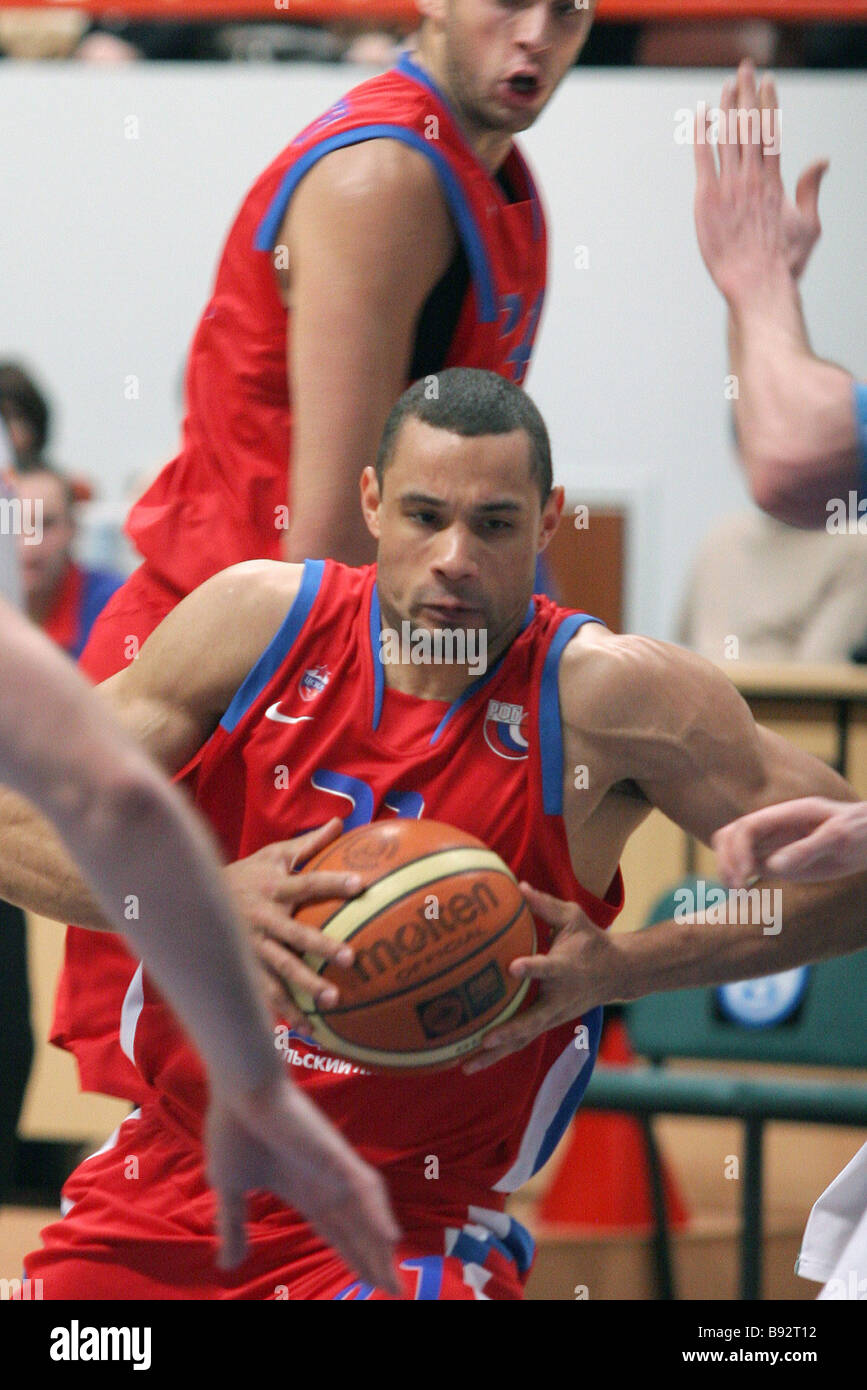 CSKA player Trajam Langdon centre during the Russian basketball championship match between CSKA of Moscow and UNIKS - Stock Image