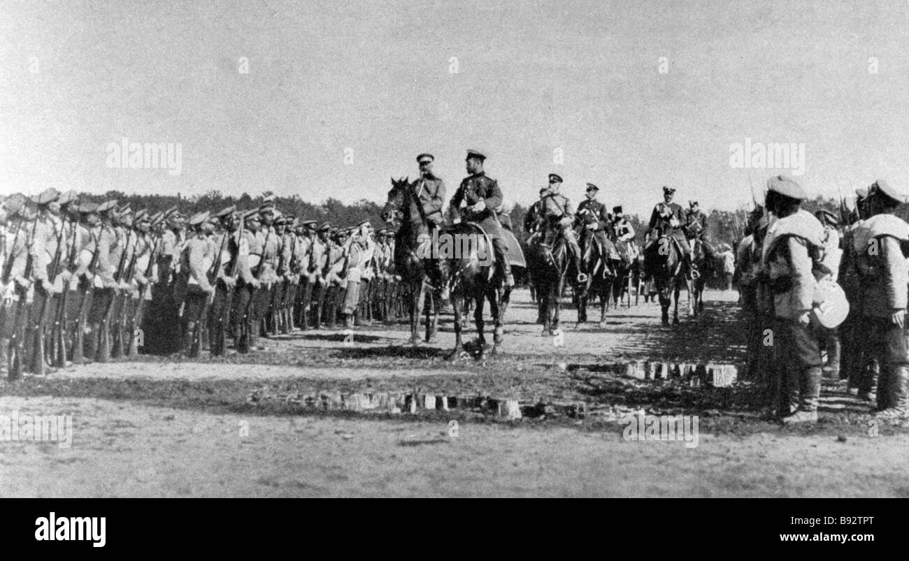 Men and officers of first Russian army corps 1904 photo reproduction - Stock Image