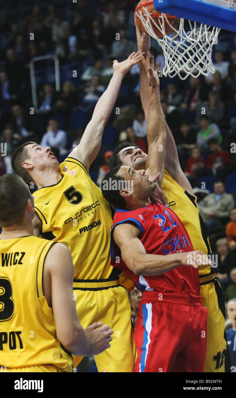 Trajan Langdon of CSKA Moscow making the basket in a match of the 2nd round of the Euroleague basketball tournament - Stock Image