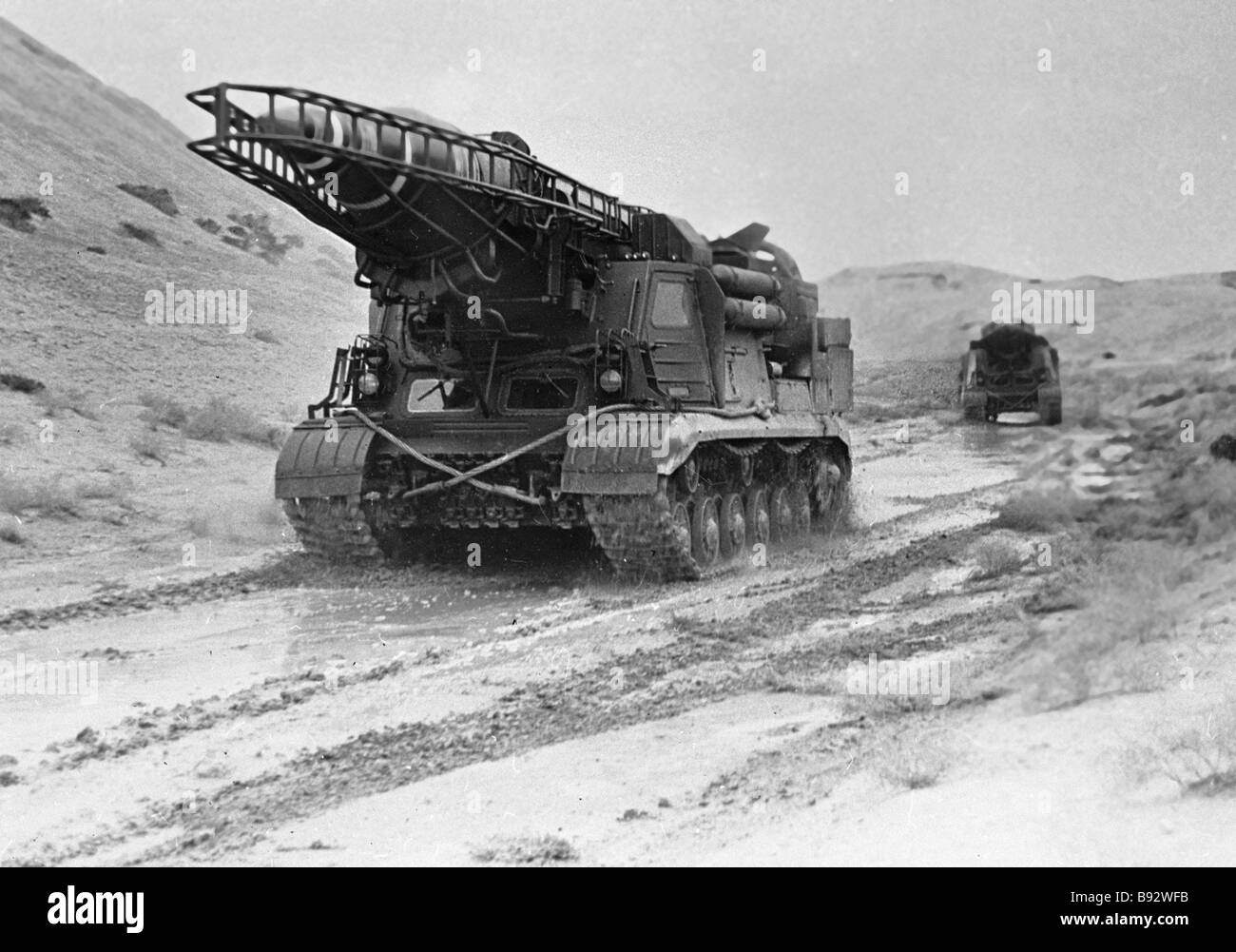 Missile launchers are being moved to the launching site during military exercise - Stock Image