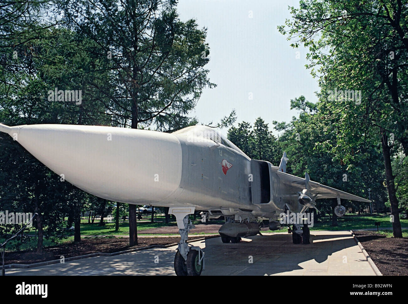 Su 24 Fencer memorial warplane parked on the territory of the Sukhoi design bureau in Moscow The two seat and all - Stock Image