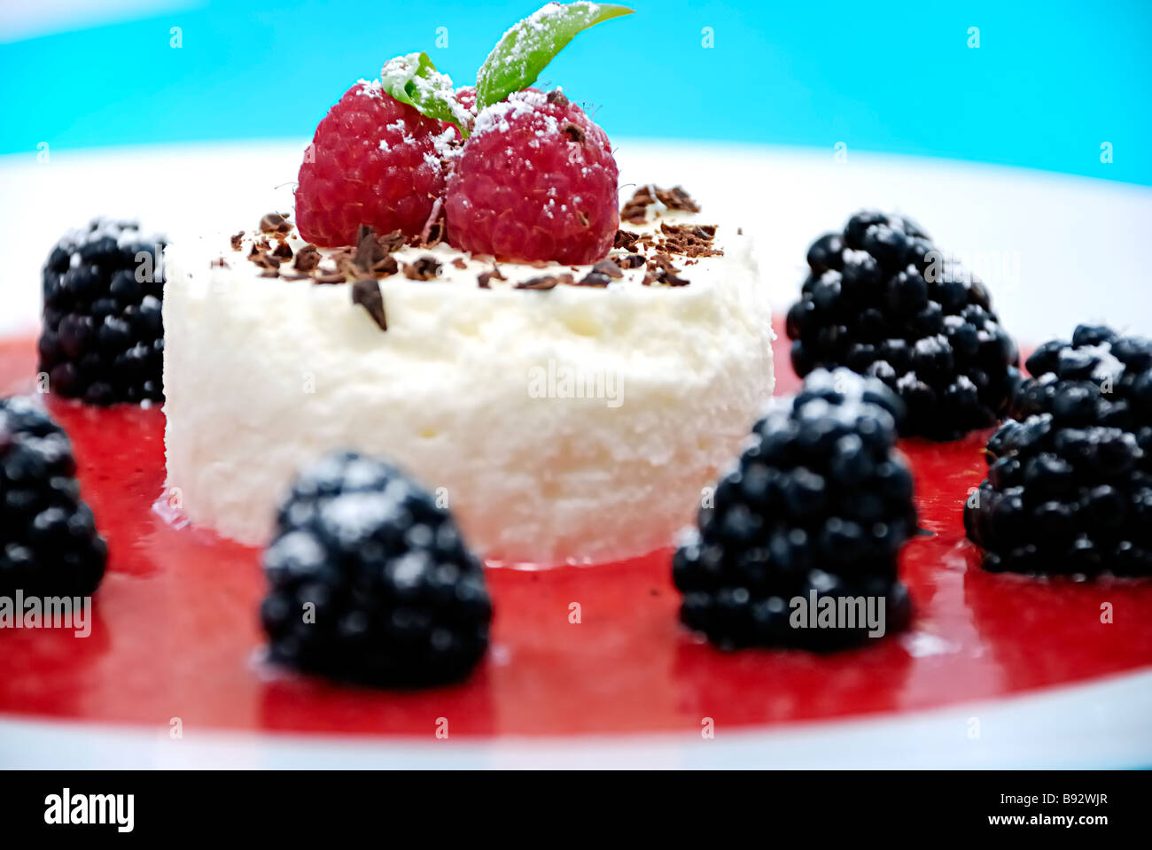 Cheesecake with berries fruits - Stock Image