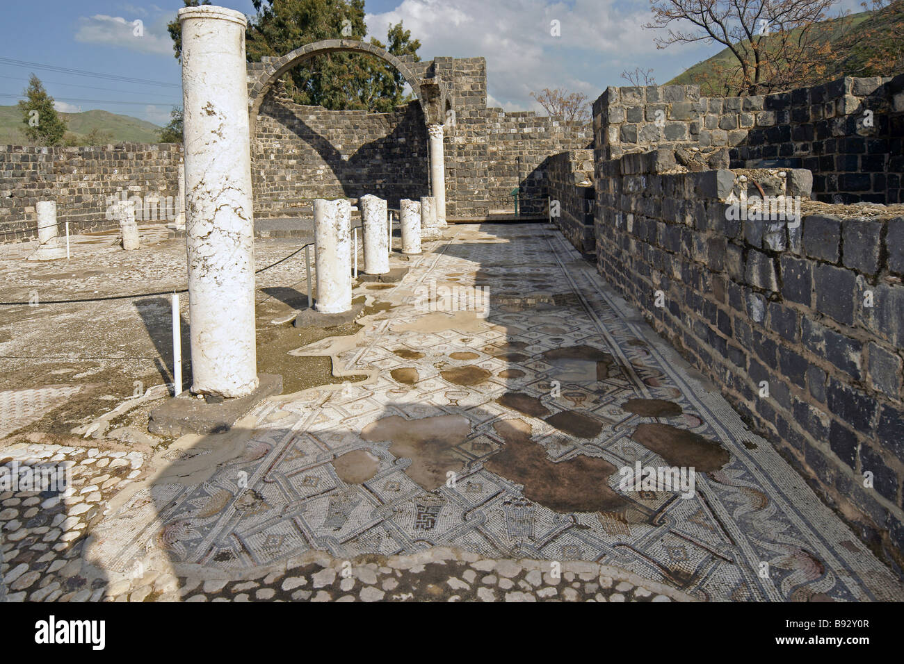 Israel Sea of Galilee Kursi Gergesa Byzantine monastery and mosaic floor - Stock Image