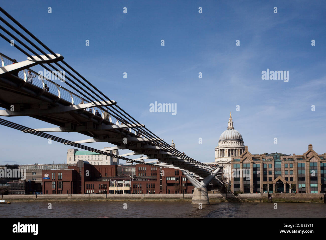 St Pauls Cathedral and the Millenium Bridge in London UK Stock Photo