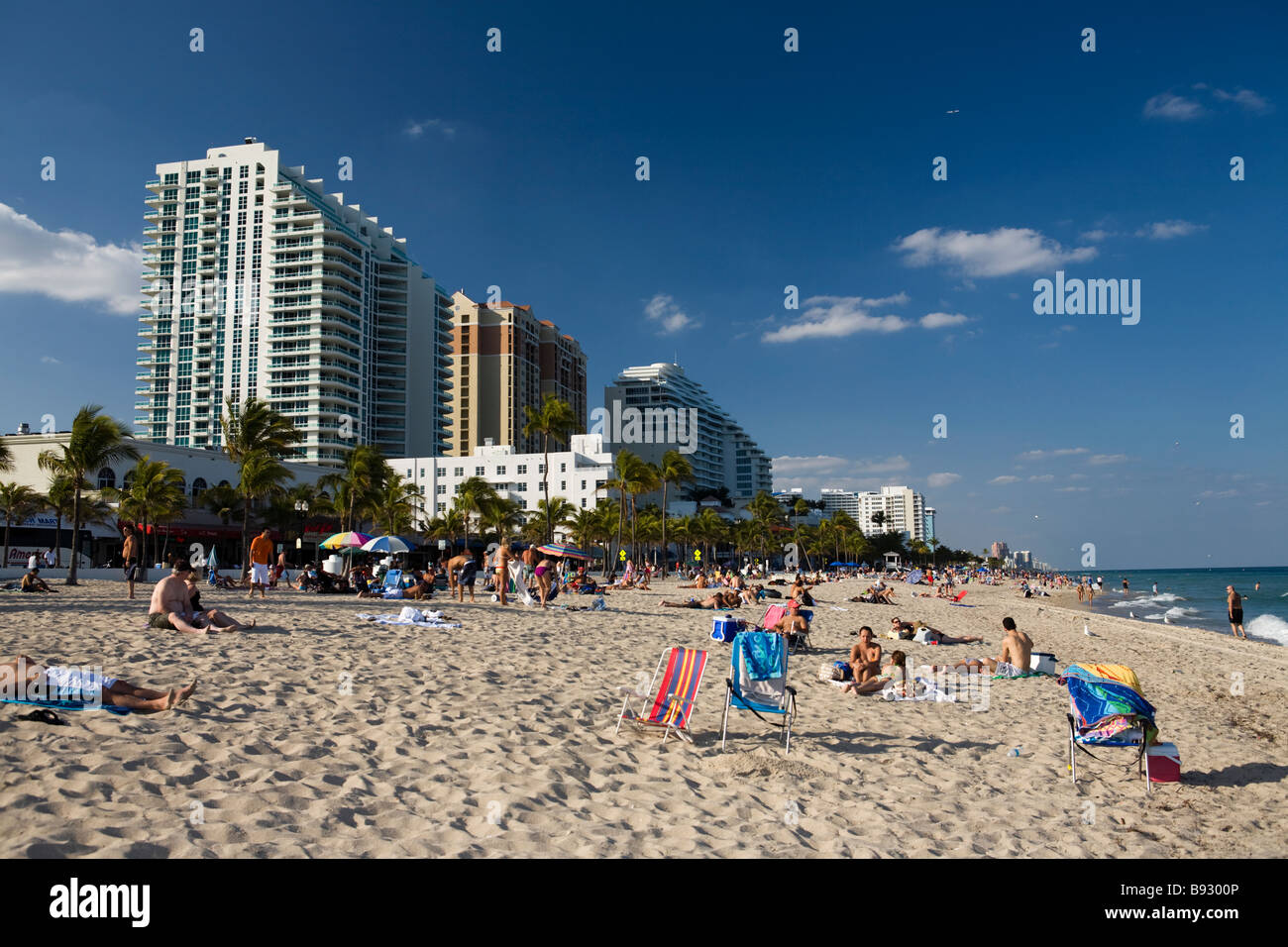 Fort Lauderdale beach with waterfront buildings, Florida, USA Stock Photo