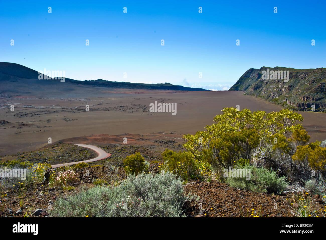 Caldera, active volcano Piton de la Fournaise, La Réunion, France | Krater des Vulkans Piton de La Fournaise, - Stock Image
