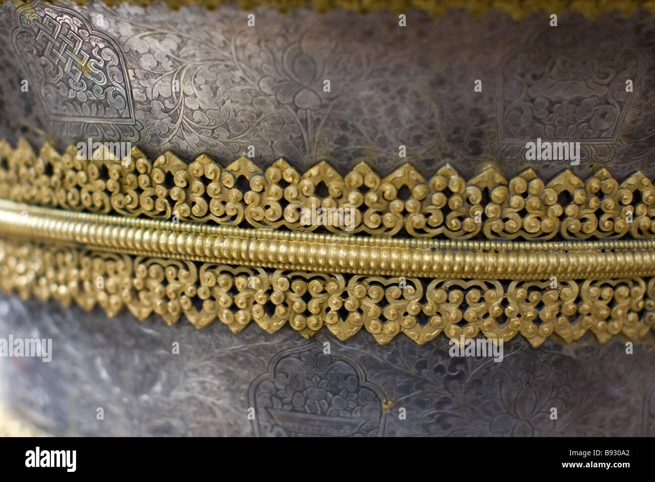 Tibetan metalwork and gold - Stock Image