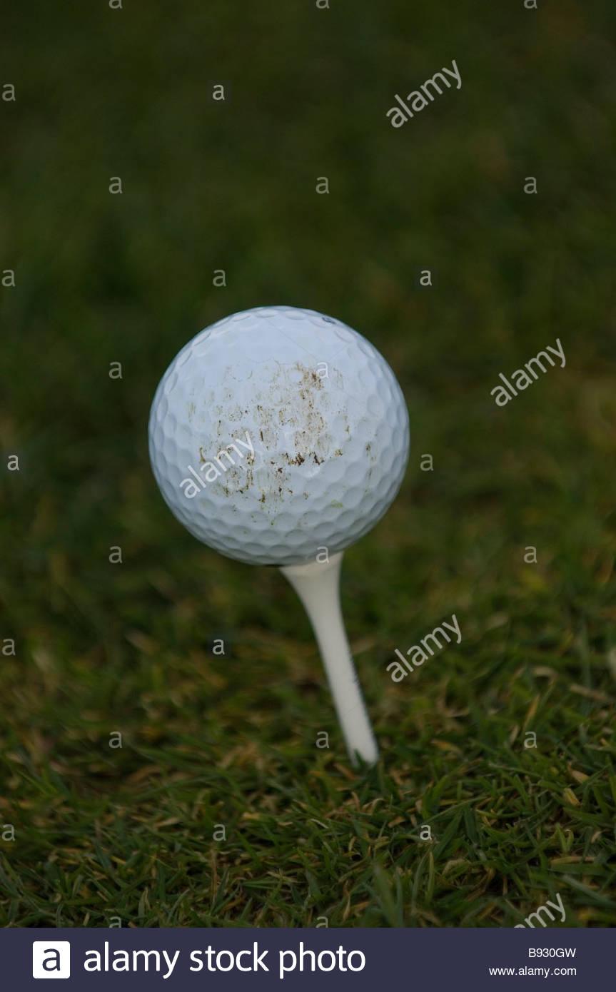 A golf ball on a tee - Stock Image