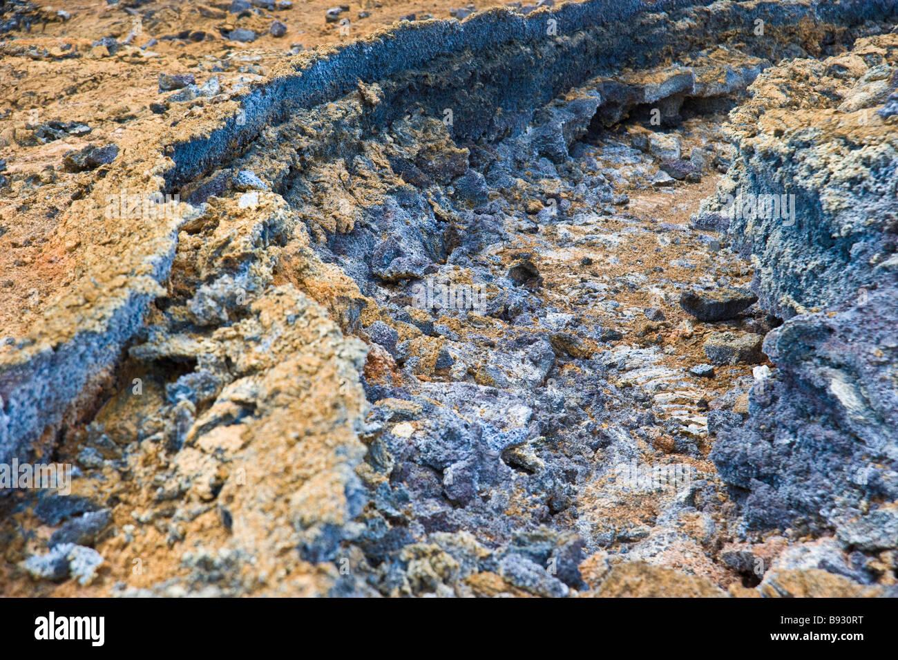 Cold lava flow from volcano at La Réunion, Indian Ocean, France | Kalter Lava Fluss, La Reunion, Indischer - Stock Image