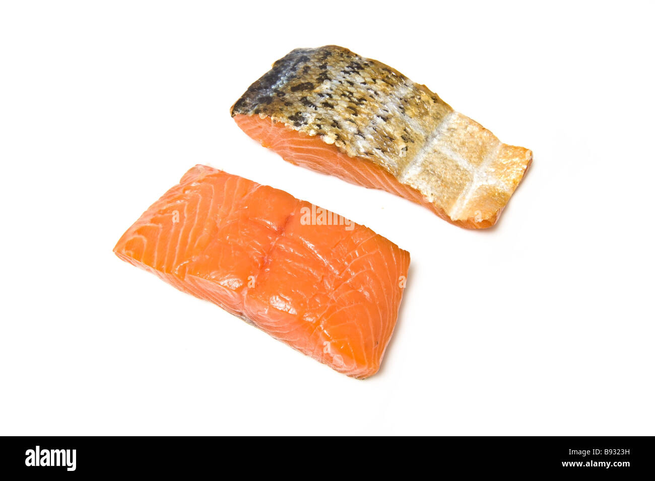 Smoked salmon fillets isolated on a white studio background - Stock Image