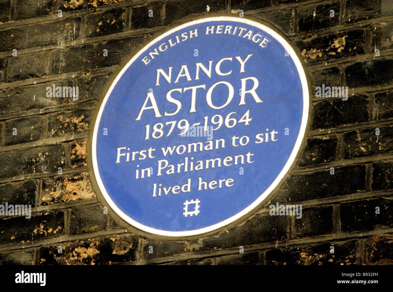 Blue Plaque Nancy Astor first female woman MP St James Square London England UK English member of parliament - Stock Image