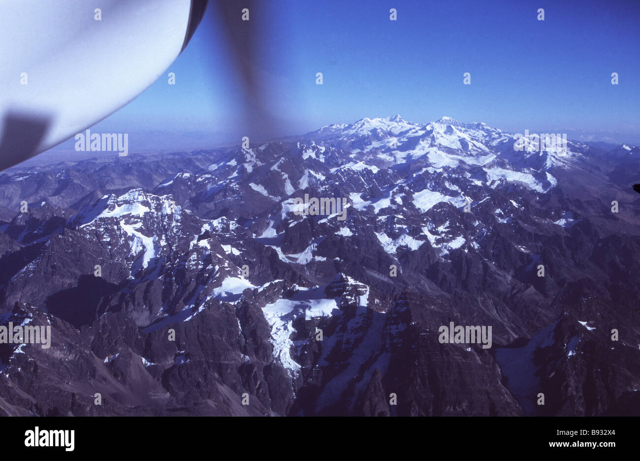 Aerial view of northern part of Cordillera Real from aeroplane, Bolivia - Stock Image