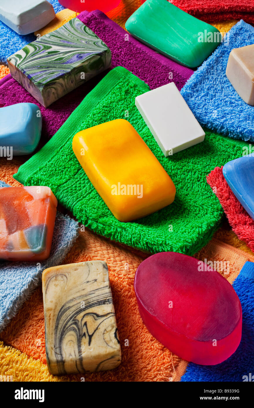 Bars of soap and wash clothes - Stock Image