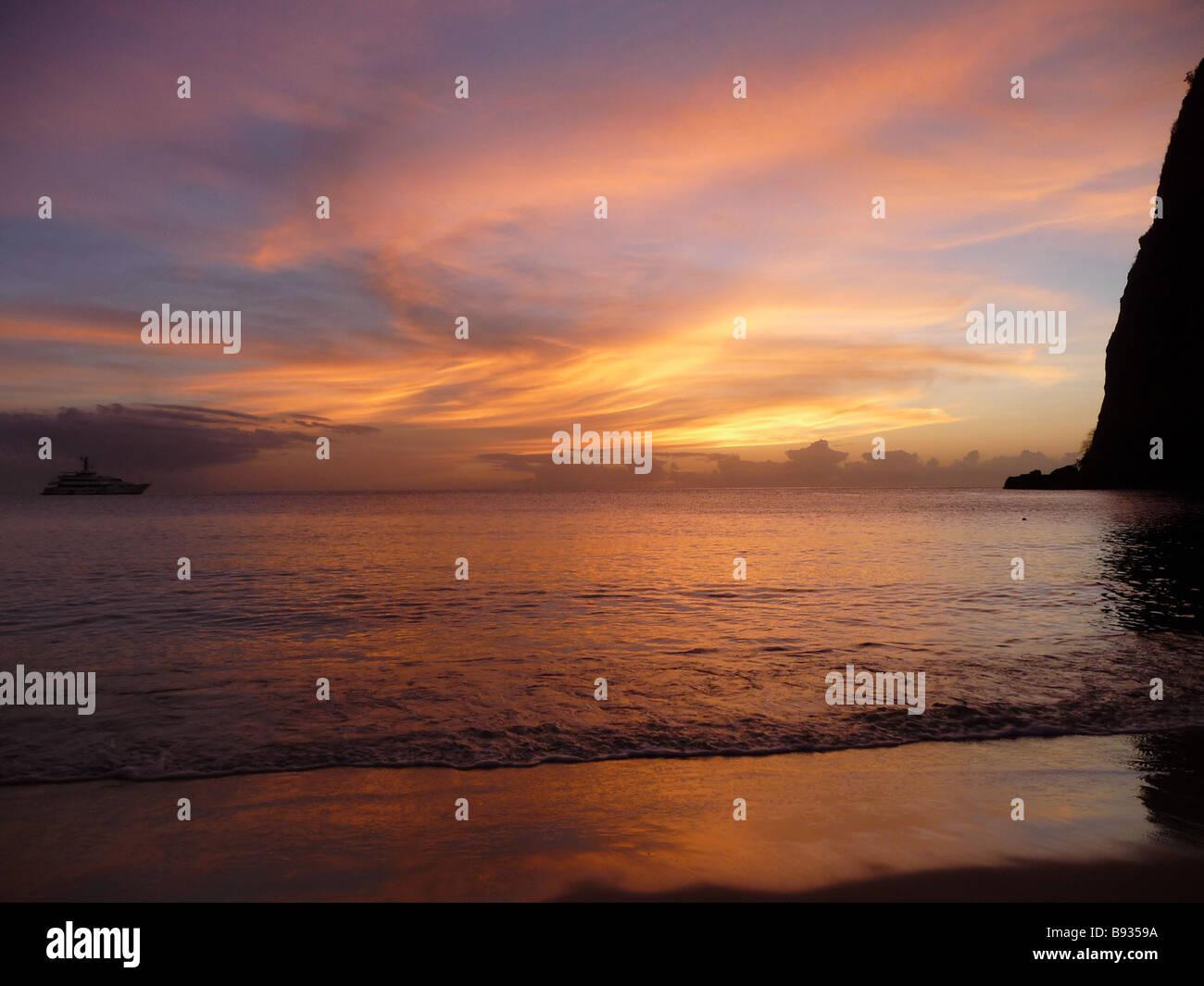 Sunset Anse Des Piton - Stock Image