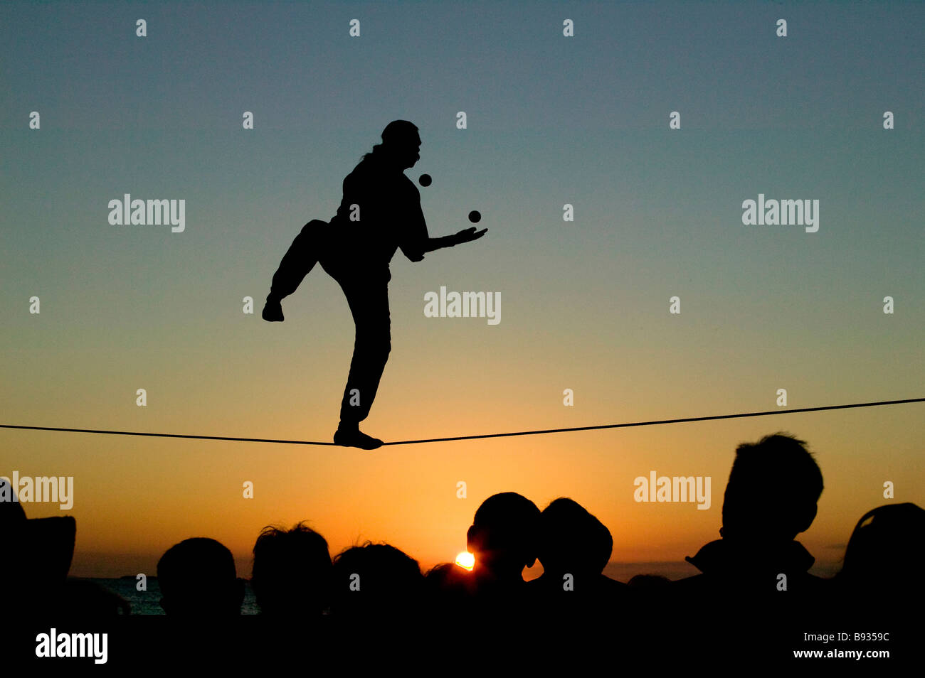 Tight rope walker preforming in Mallory Sq Key West Fl - Stock Image