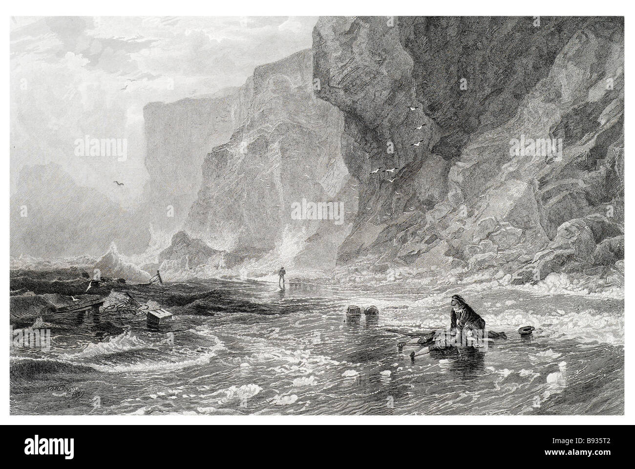 the storm with mordaunt rescuing cleveland sea shore beach drowned ship wreak cliffs cliff period dress waves water - Stock Image