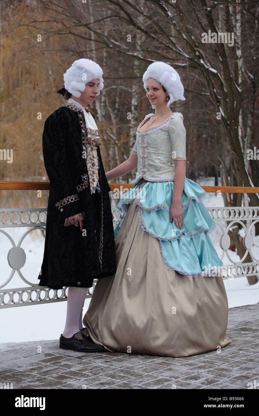 Russian fashion show from Classicism epoch end of the XVIII century - Stock Image