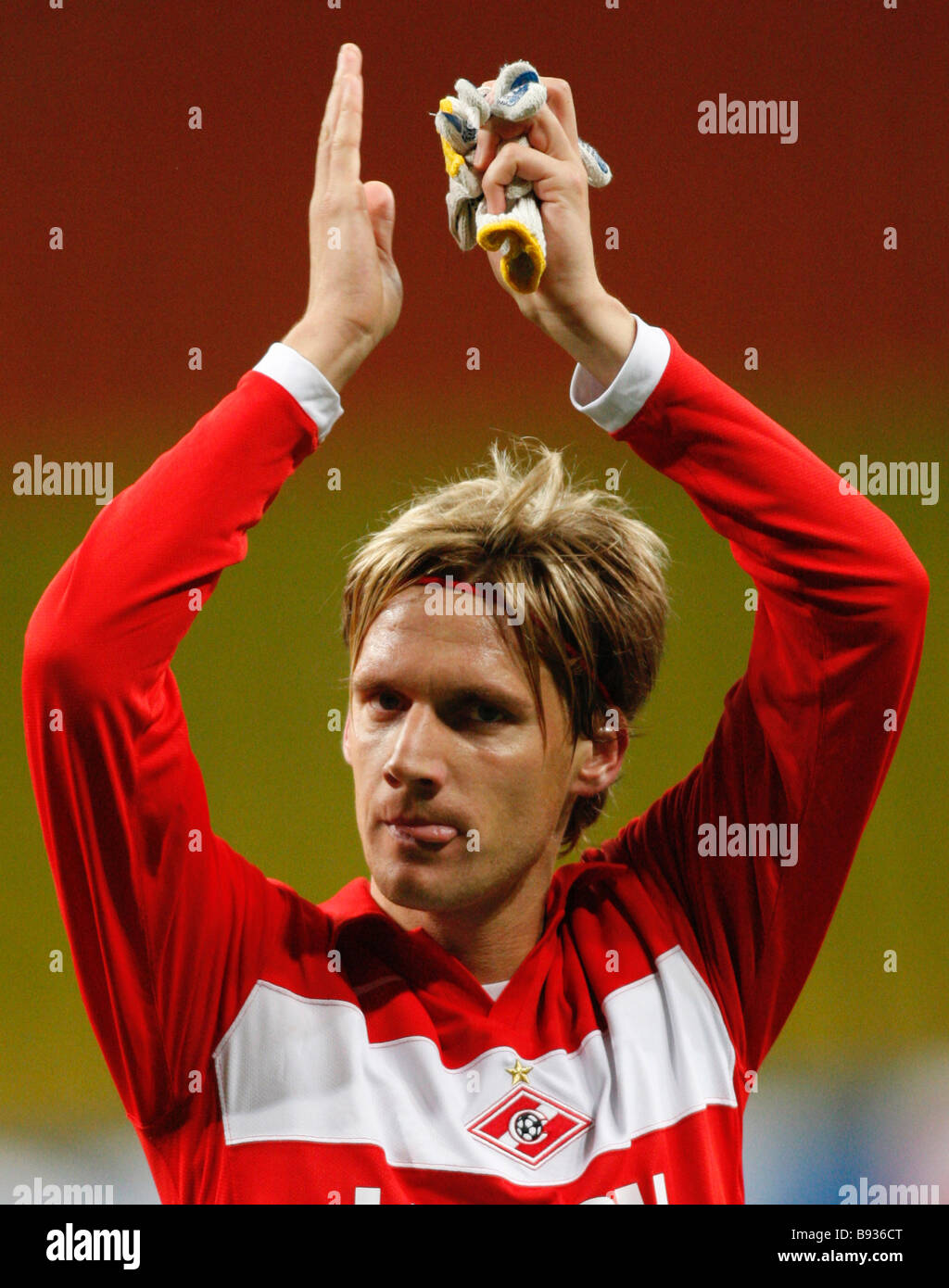Spartak Moscow beat Bayer Germany 2 1 in an E group soccer match in Moscow Spartak s triumphant Radoslav Kovac - Stock Image