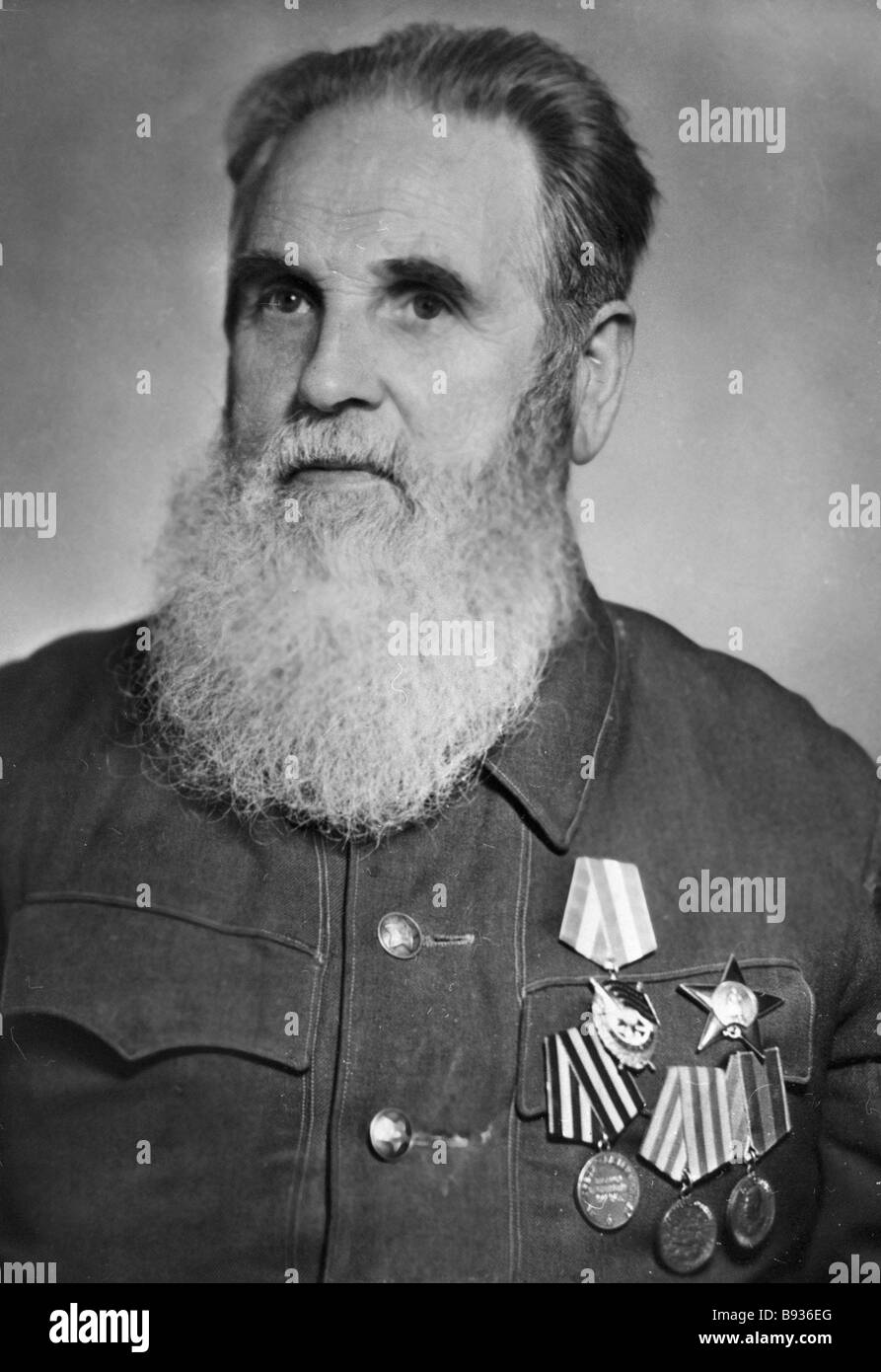 Veteran of three wars former military pilot Ivan Chuchin - Stock Image