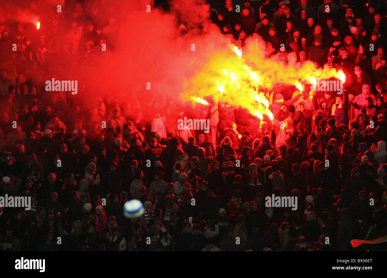 Spartak Moscow beat Bayer Germany 2 1 in an E group soccer match in Moscow Fans setting off fireworks in the stands - Stock Image