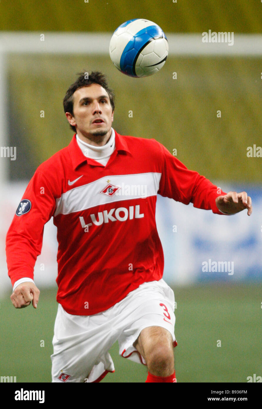 Martin Stranzl of Spartak Moscow plays against Bayer Leverkusen Germany Spartak Moscow won this UEFA Cup match Group - Stock Image