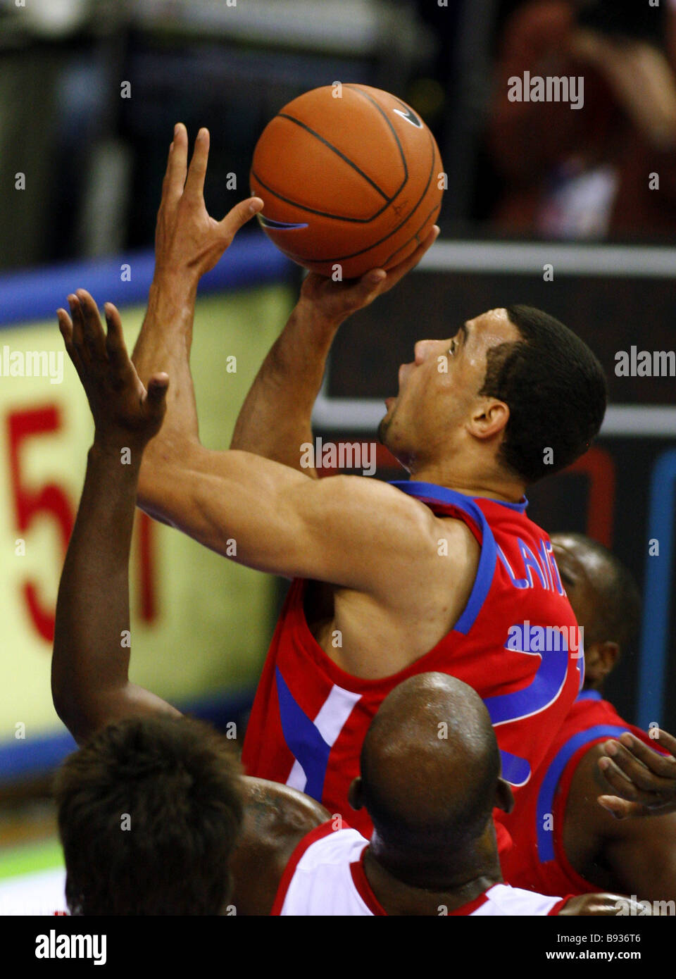 Trajan Langdon of CSKA Moscow playing in a basketball game of the 2nd round of the Euroleague tournament against - Stock Image