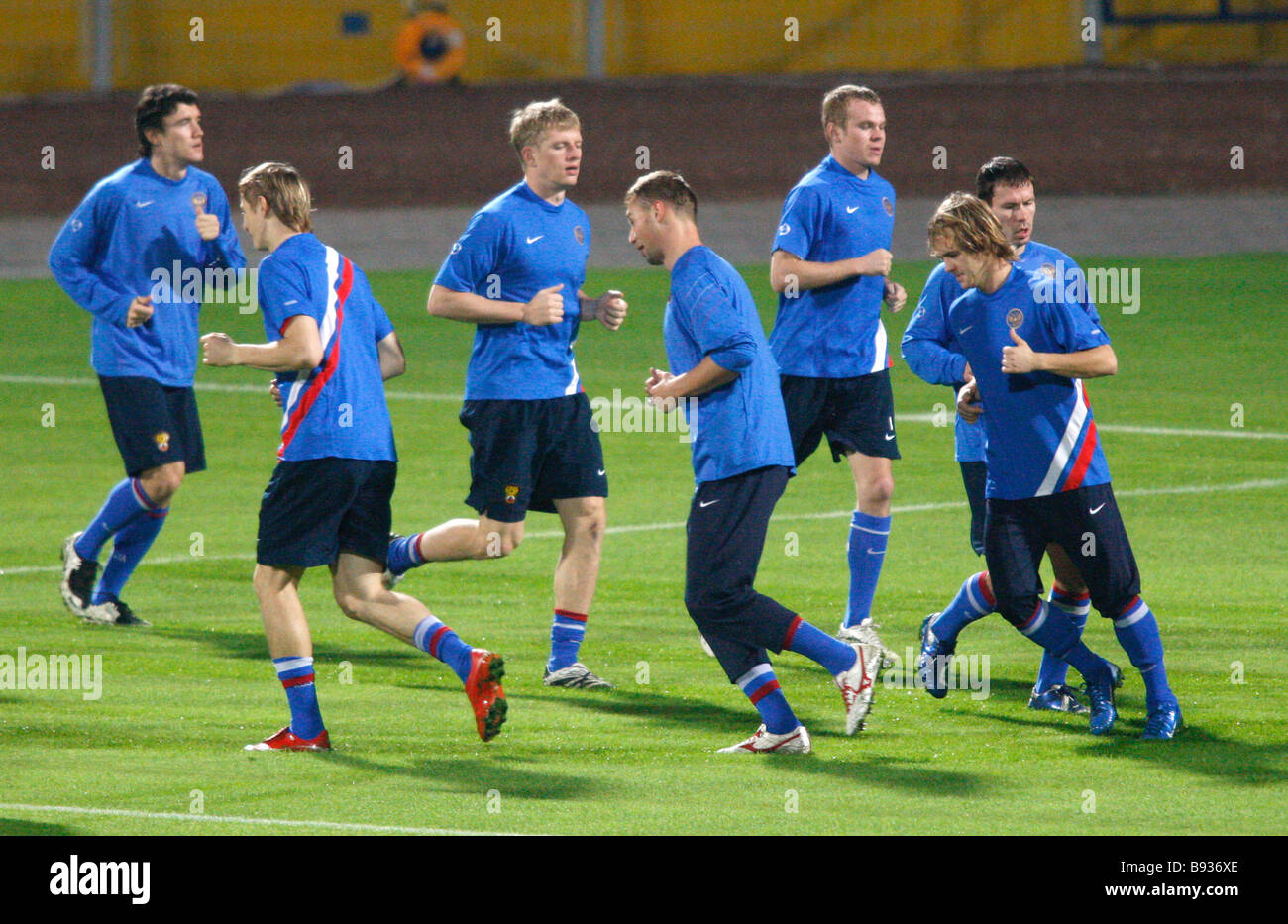 The Russian national football team training at the Ramat Gan stadium in Tel Aviv for its match with Israel to qualify - Stock Image