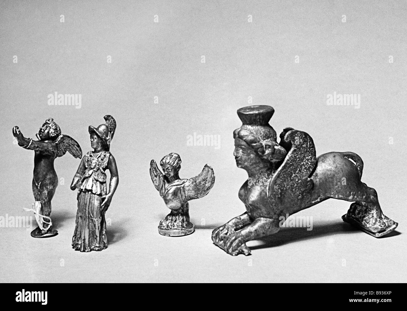 Silver and gilded figurines of Parthian gods discovered during the excavations of Parthia s capital Nisa on the - Stock Image