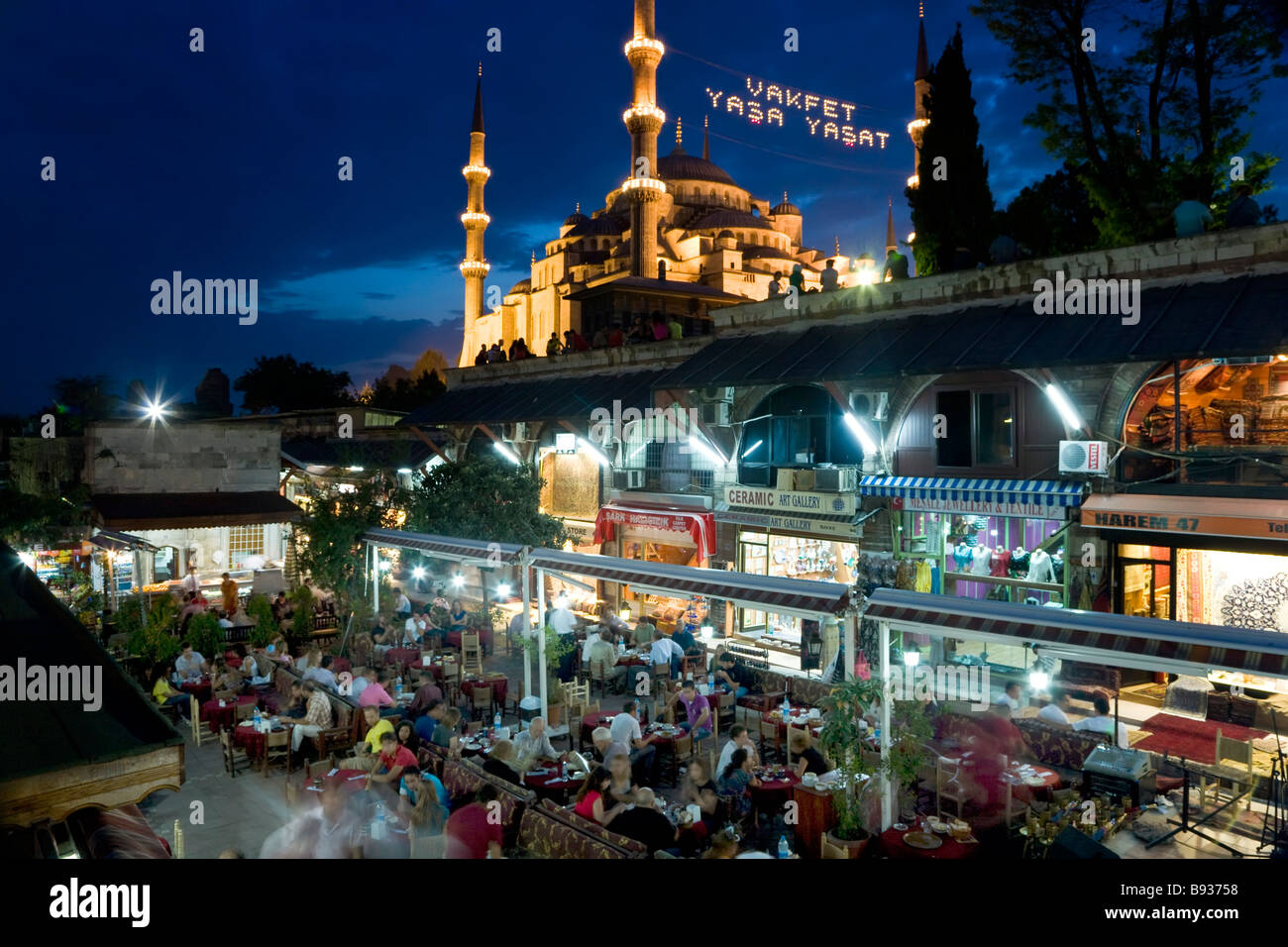 The Blue Mosque or Sultan Ahmet Mosque 1609 1616 restaurant Sultanahmet District Istanbul Turkey - Stock Image