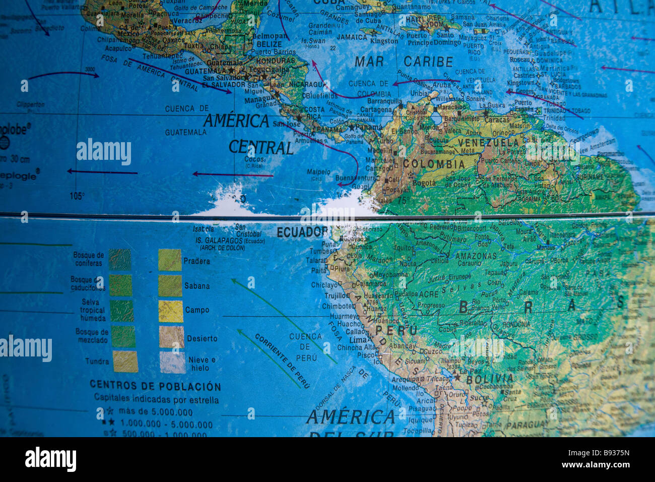 Middle of the Earth globe, Museo Solar Inti Nan on the 'real equator', Quito district, Ecuador - Stock Image