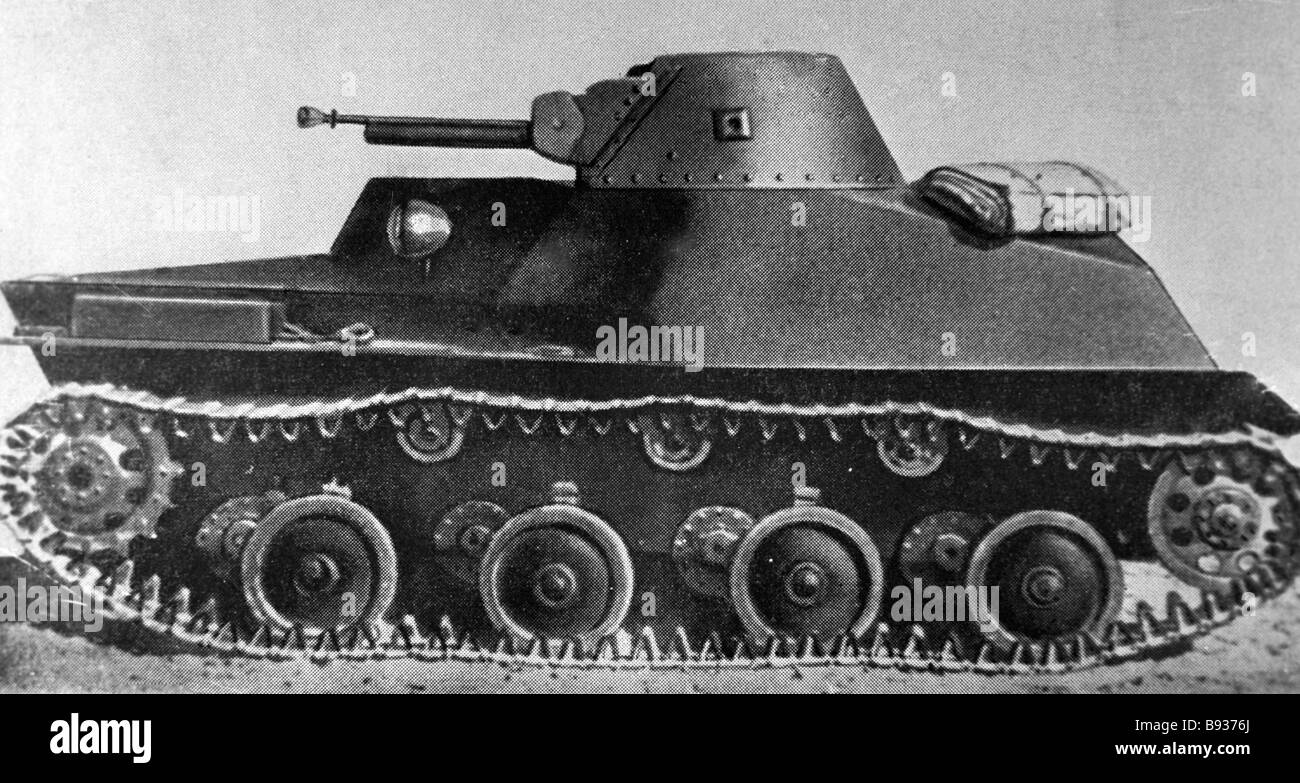 Drawing reproduction of light tank 40s from USSR Armored Forces Museum collection - Stock Image