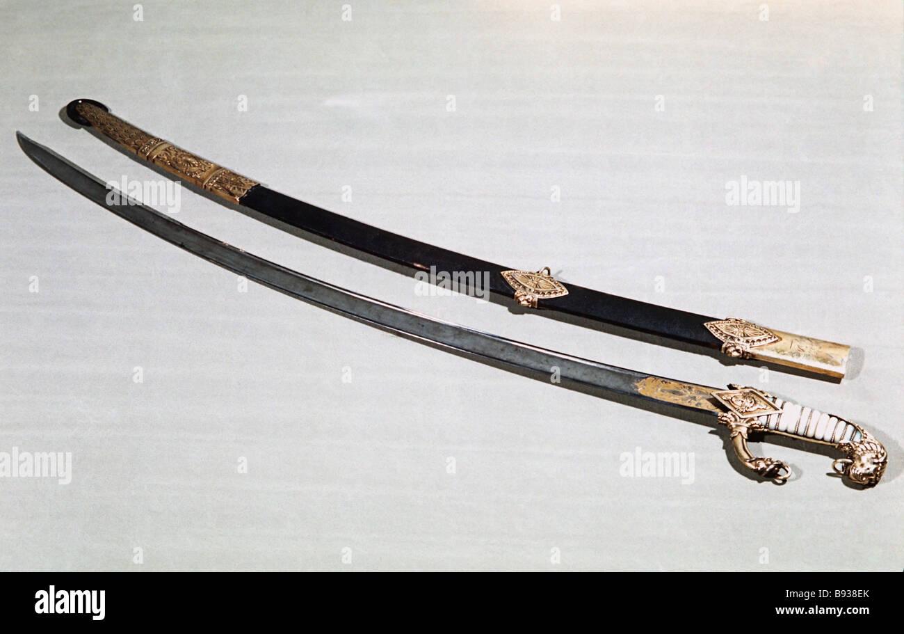 French Emperor Napoleon Bonaparte s cavalry sword Moscow State History Museum - Stock Image