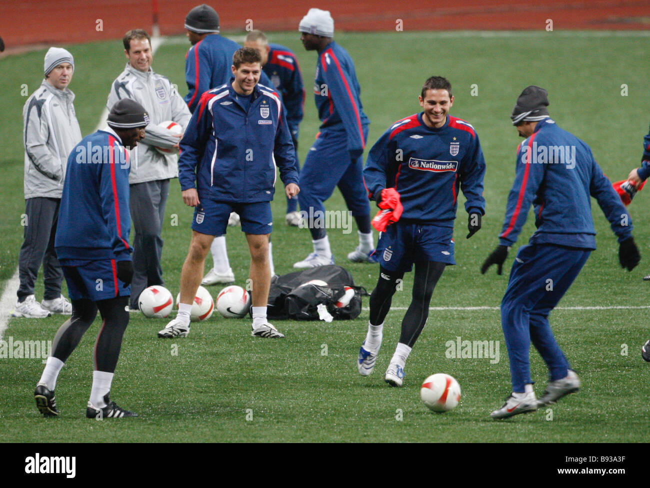 The England national football team train at the Luzhniki stadium in Moscow before its qualifying match with Russia - Stock Image