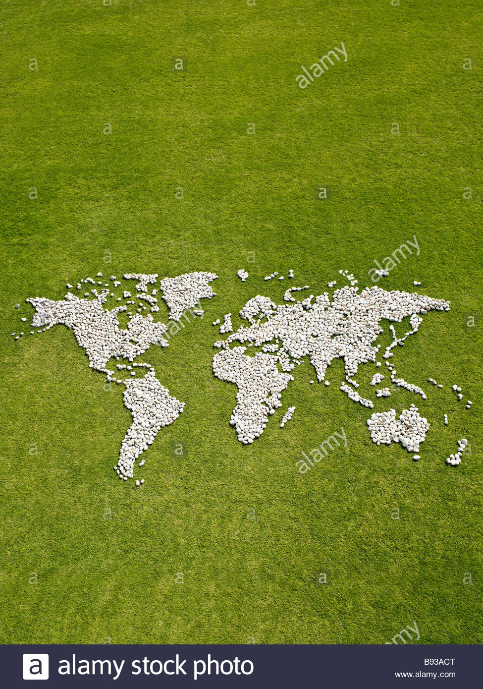 World map made of rocks Stock Photo